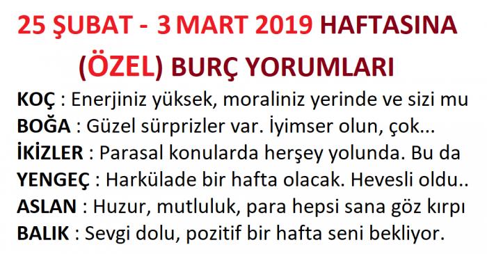 25 Şubat – 3 Mart 2019 Haftasına Özel Haftalık Burç Yorumları