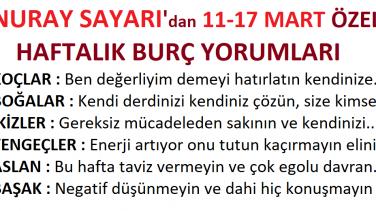NURAY SAYARI'dan Yeni Haftaya Özel HAFTALIK BURÇ YORUMLARI (11-17 MART 2019)